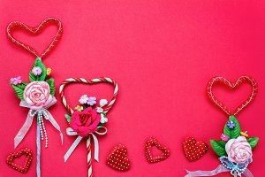 Top view valentine day background.