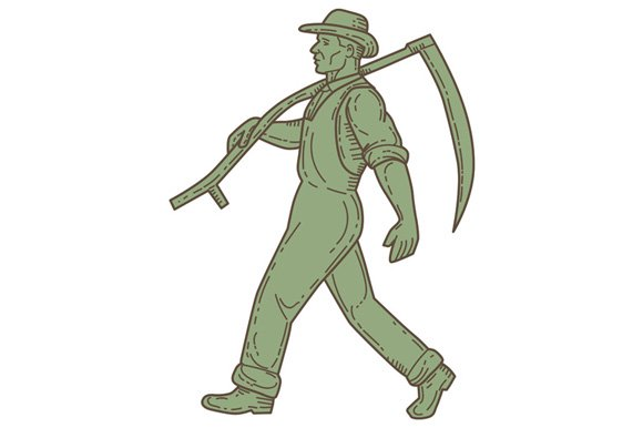 Organic Farmer Scythe Walking