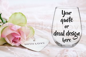 Pretty stemless wine glass mockup
