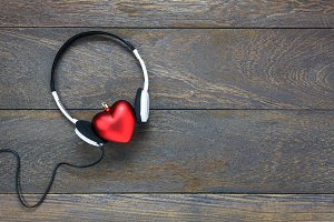 Top view music with valentines day