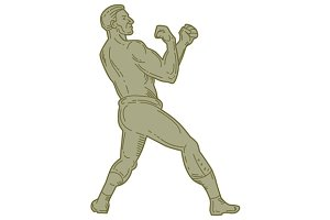 Vintage Boxer Fighting Stance