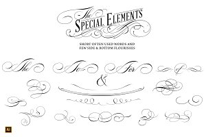 Calligraphic lettering design set