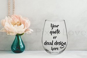 Pretty stemless wine glass mockup