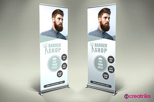 Barber Shop Roll Up Banner