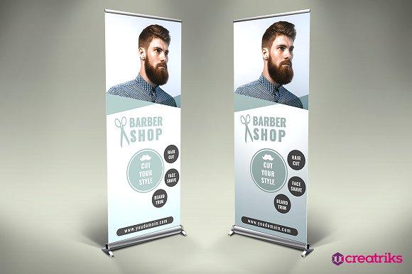 Barber Shop Roll Up Banner