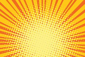 Yellow orange rays comic pop art