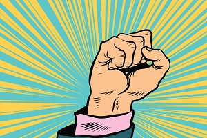 Pop art fist up, a symbol of protest