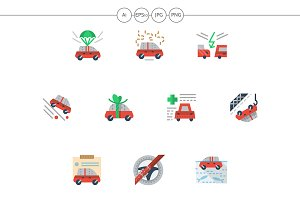 Car insurance flat simple icons