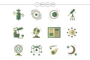 Astronomy flat simple icons