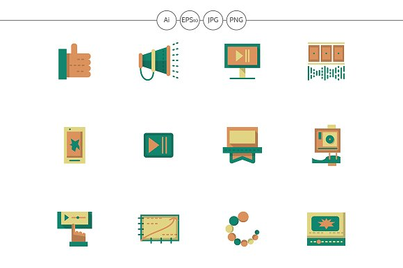 Video Blog Flat Simple Icons