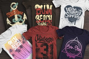Beach T-shirt graphics set