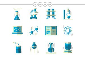 Chemistry science flat blue icons