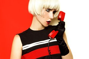 Lady retro style with vintage phone