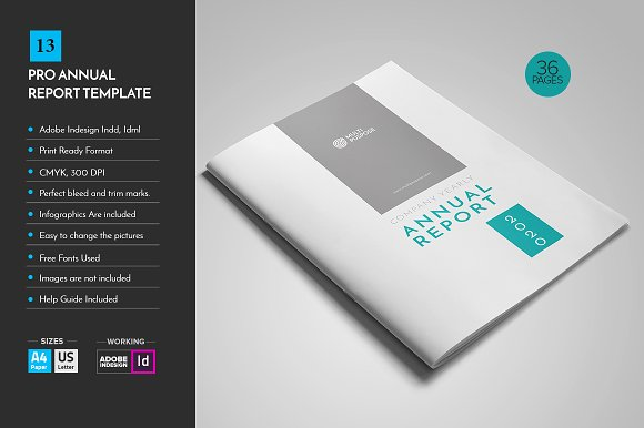 Annual Report Template V13 ~ Brochure Templates ~ Creative Market