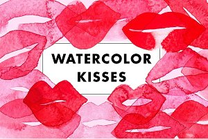 Watercolor lips & kisses
