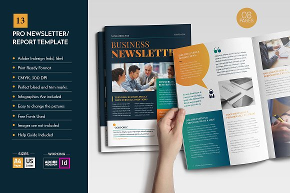 Professional Newsletter Template V12 ~ Brochure Templates ~ Creative ...