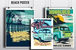 retro surf poster