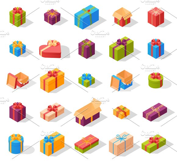 Gift Icons And Present Boxes Vector