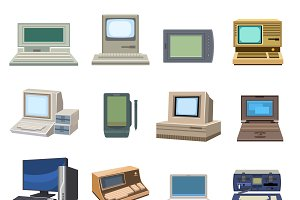 Vector set of retro computer