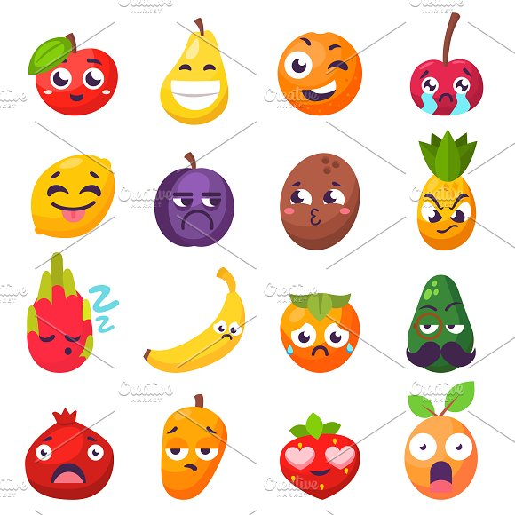 Cartoon Emotions Fruit Characters