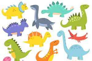 Cute cartoon dinosaurs vector