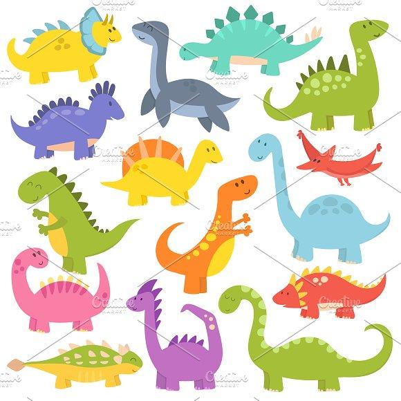 Cute Cartoon Dinosaurs Vector