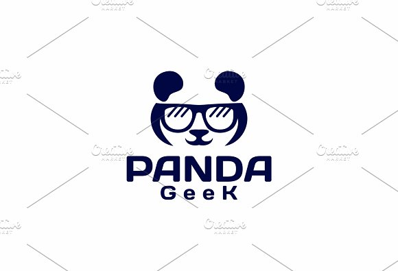Geek Panda Logo Templates Creative Market