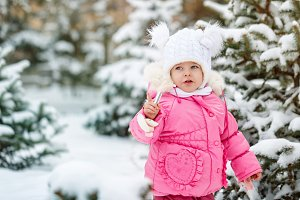 Little girl the winter.
