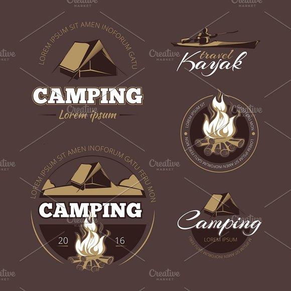 Vintage Outdoor Adventure Labels Set