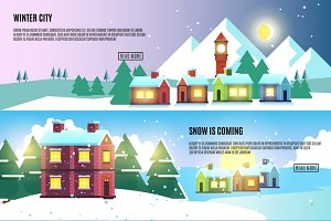 Urban winter vector banners set