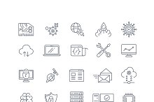 Database analytics vector line icons