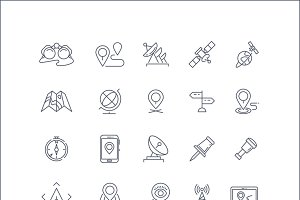 Geolocation line vector icons set