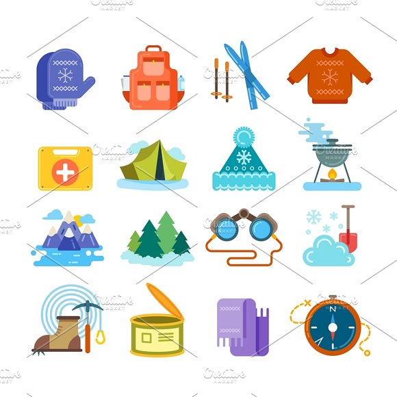 Winter Hiking Flat Icons Set
