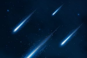 Comet shower in the starry sky