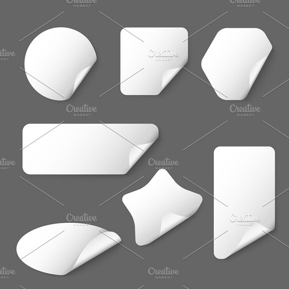 White Vector Paper Stickers