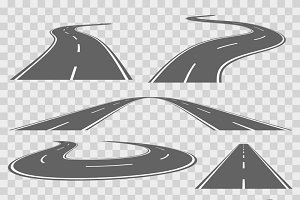 Winding curved road with markings