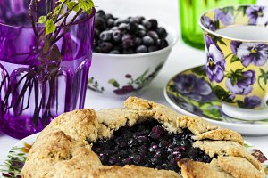 crusty pie or galette with blueberries