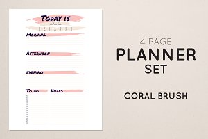 Planner Set - Coral Brush