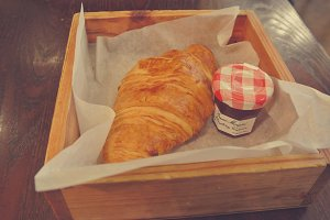 Croissant and Strawberry Marmalade