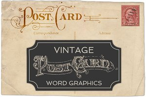 Vintage Postcard Word Vectors