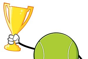 Tennis Ball Holding A Trophy Cup