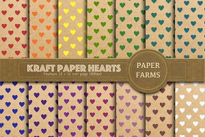 Kraft paper hearts digital paper