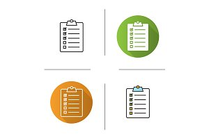 Clipboard checklist. 4 icons. Vector