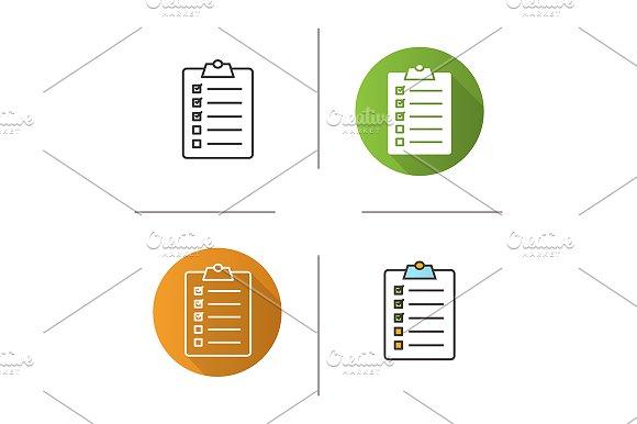Clipboard Checklist 4 Icons Vector