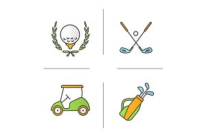Golf equipment. 4 icons. Vector