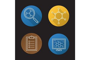 Science lab. 4 icons. Vector