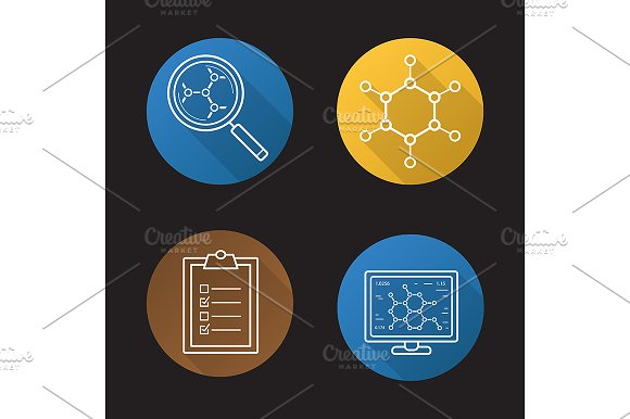 Science Lab 4 Icons Vector