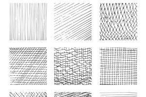 Hatching textures patterns set