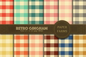 Retro gingham digital paper pack