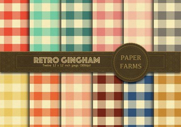 Retro Gingham Digital Paper Pack